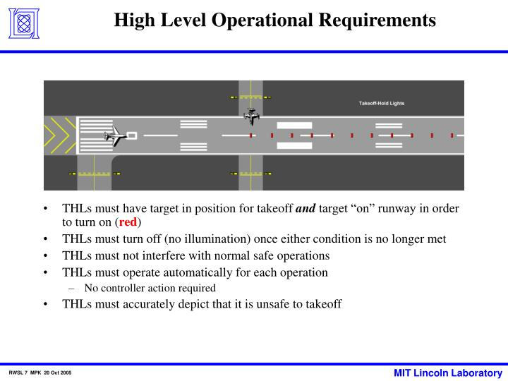 High Level Operational Requirements