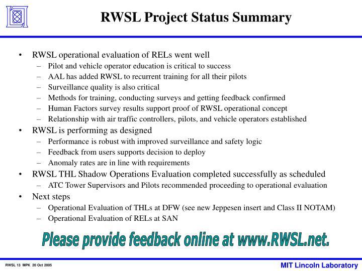 RWSL Project Status Summary