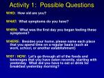 activity 1 possible questions