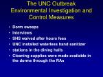 the unc outbreak environmental investigation and control measures