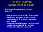 the unc outbreak questionnaire and study2