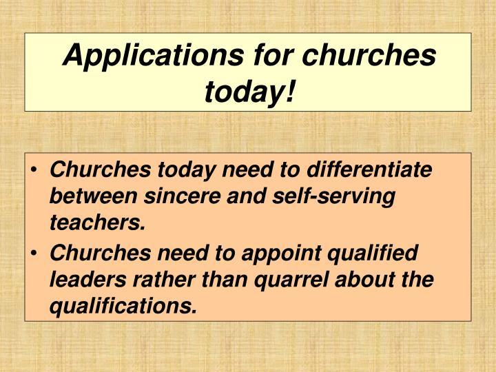 Applications for churches today!