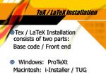 tex latex installation
