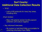 surf county additional data collection results