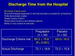 discharge time from the hospital