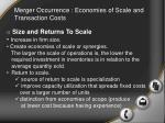 merger occurrence economies of scale and transaction costs