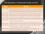 the acquisition of savannah foods cont d