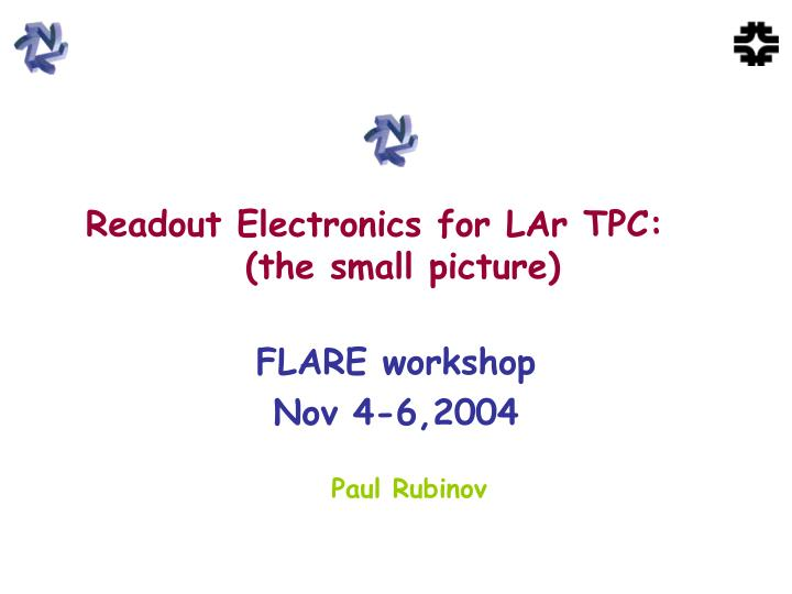 readout electronics for lar tpc the small picture n.