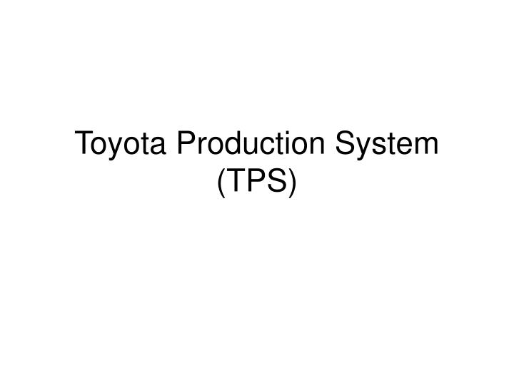 toyota production system tps n.