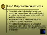 land disposal requirements