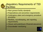 regulatory requirements of tsd facilities