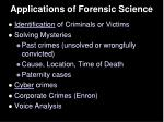 applications of forensic science
