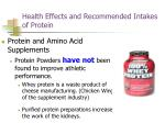 health effects and recommended intakes of protein12