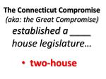 the connecticut compromise aka the great compromise established a house legislature