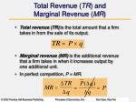 total revenue tr and marginal revenue mr