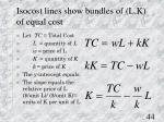 isocost lines show bundles of l k of equal cost