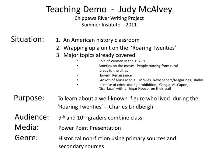 teaching demo judy mcalvey chippewa river writing project summer institute 2011 n.