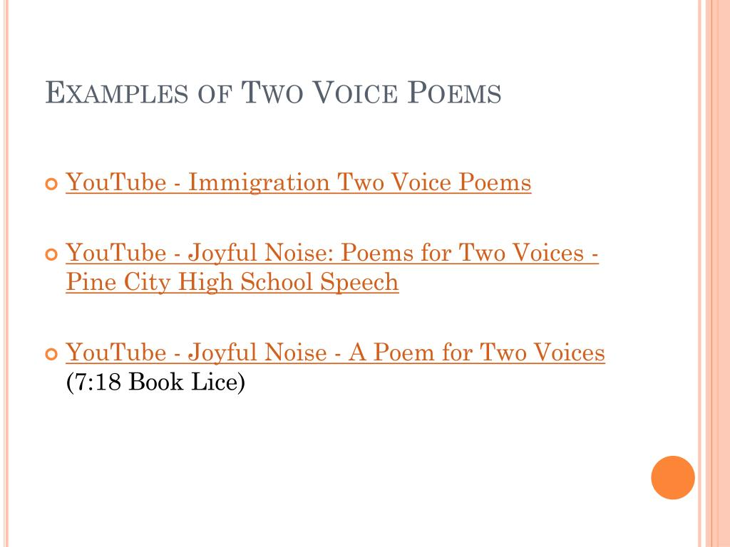 Ppt Two Voice Poems Powerpoint Presentation Free Download Id