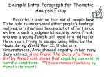example intro paragraph for thematic analysis essay