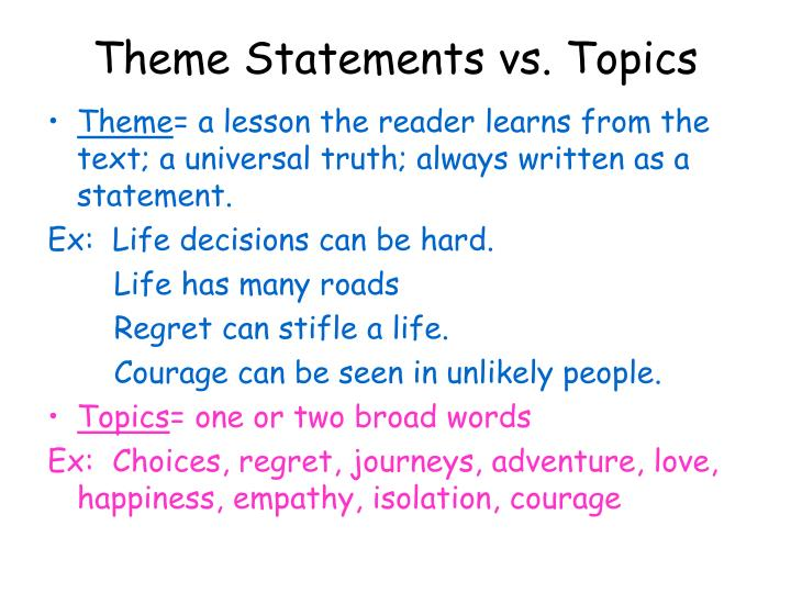 theme statements vs topics n.
