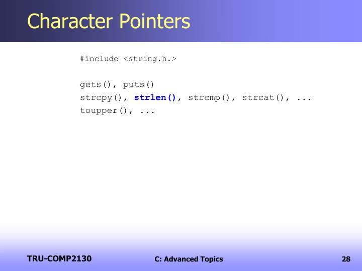 Character Pointers