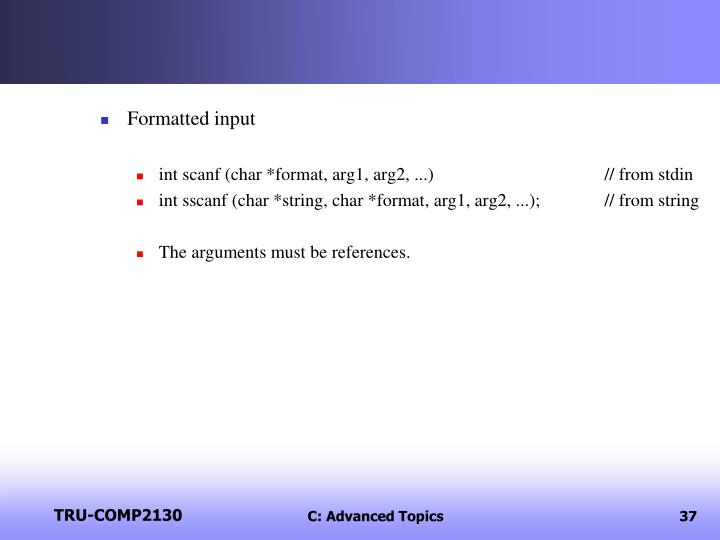 Formatted input