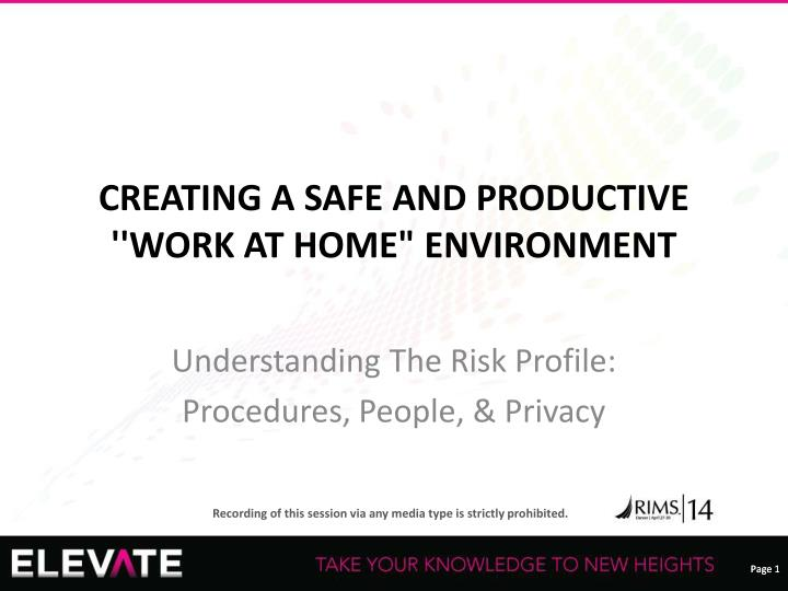 creating a safe and productive work at home environment n.