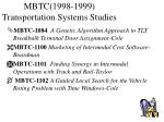 mbtc 1998 1999 transportation systems studies