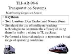 tli ar 98 6 transportation systems