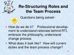 re structuring roles and the team process