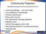 community features blending the asynchronous and synchronous