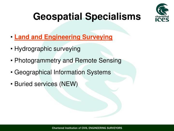 Geospatial Specialisms