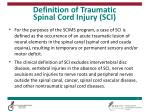 definition of traumatic spinal cord injury sci