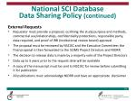 national sci database data sharing policy continued