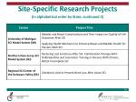 site specific research projects in alphabetical order by state continued 2