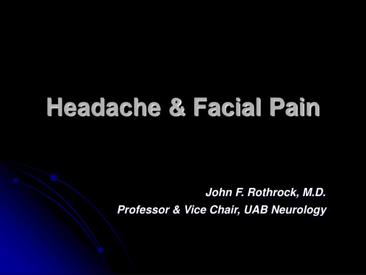 headache facial pain n.
