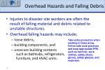 overhead hazards and falling debris
