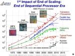 1 st impact of end of scaling end of sequential processor era