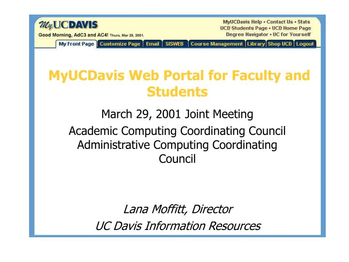 myucdavis web portal for faculty and students n.
