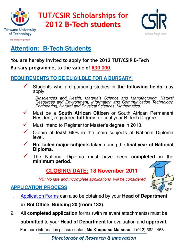 tut csir scholarships for 2012 b tech students n.