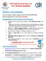 tut csir scholarships for 2012 b tech students