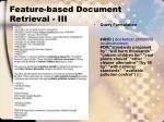 feature based document retrieval iii