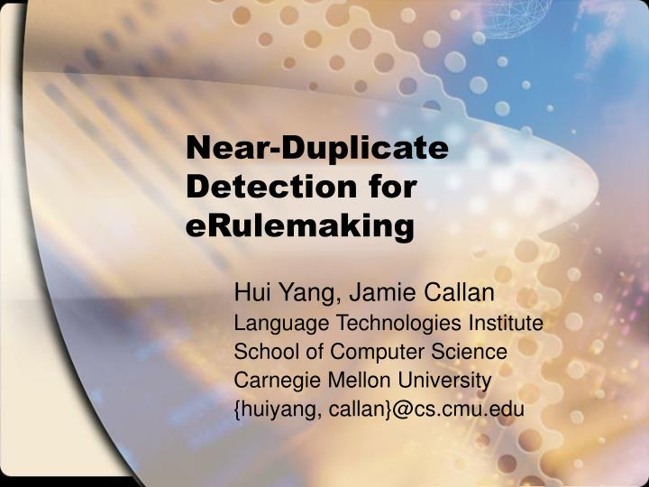 near duplicate detection for erulemaking n.
