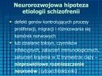 neurorozwojowa hipoteza etiologii schizofrenii