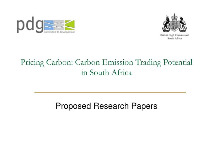 pricing carbon carbon emission trading potential in south africa n.