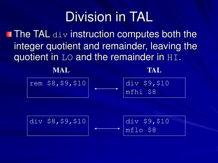 Division in TAL