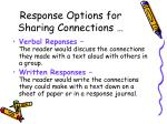 response options for sharing connections