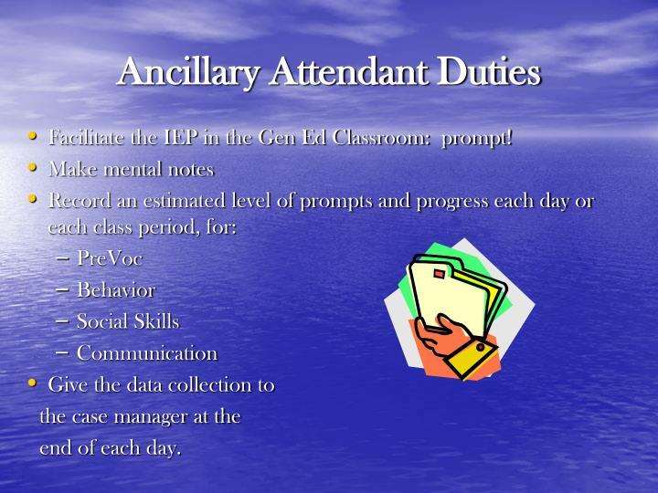 Ancillary Attendant Duties