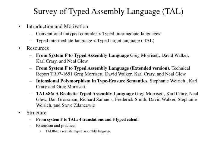 survey of typed assembly language tal n.