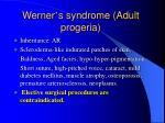 werner s syndrome adult progeria